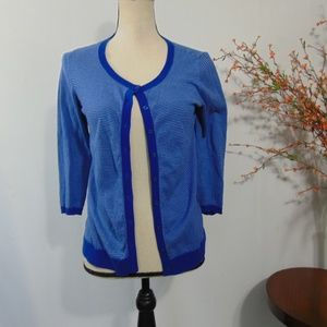 The Limited Blue Cardigan Sweater 3/4 Sleeve Sz M